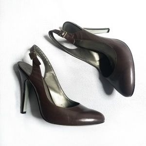 Jessica Simpson Brown Leather Slingbacks 9